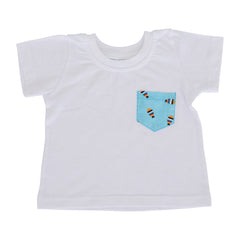 Boys T-Shirt - White with Fish pocket
