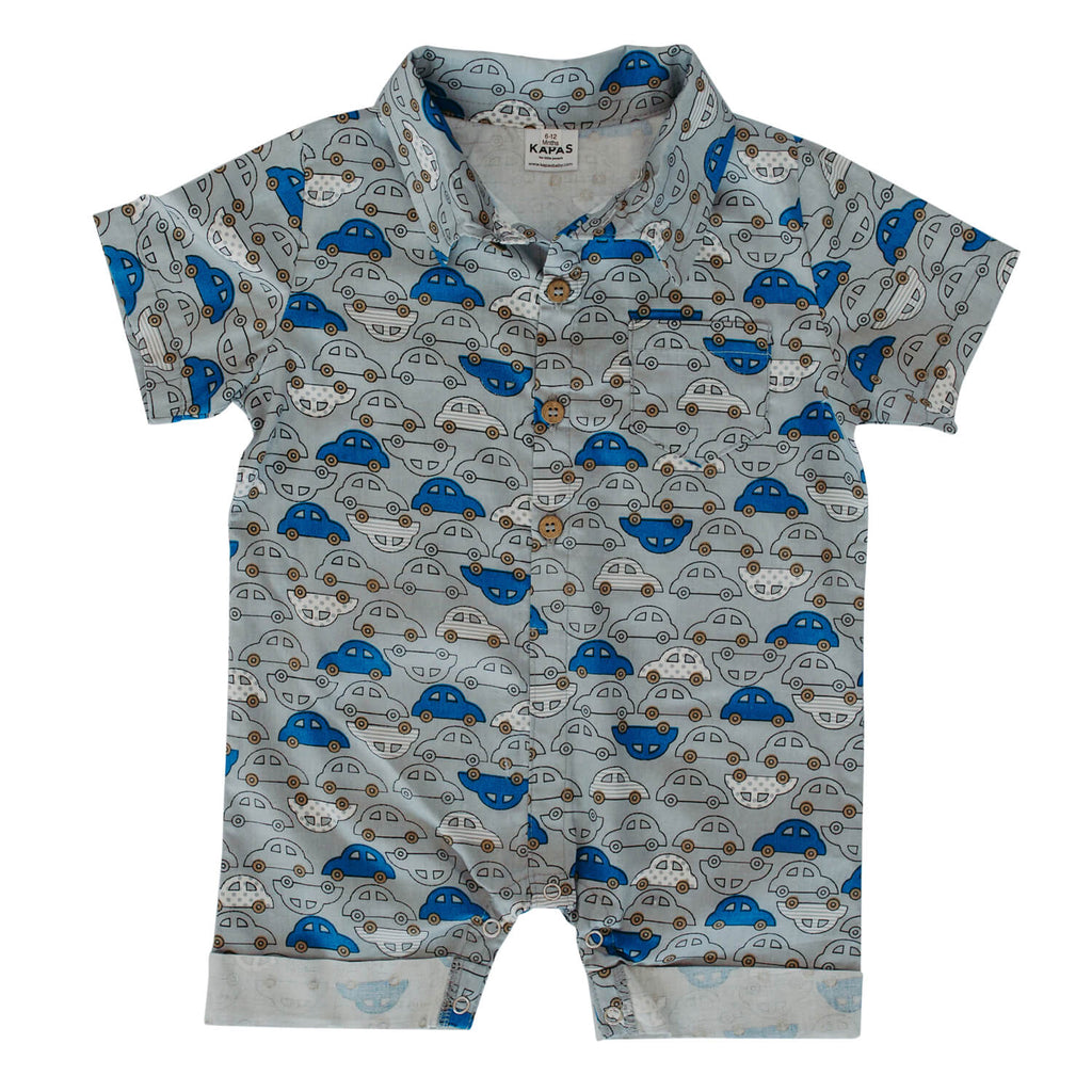 Collared Onesie - Cars on Grey