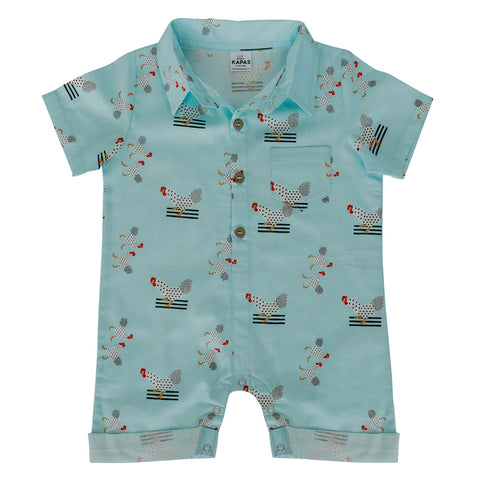 Collared Onesie - Turquoise Chickens