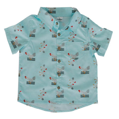 Collared Shirt - Turquoise Chickens