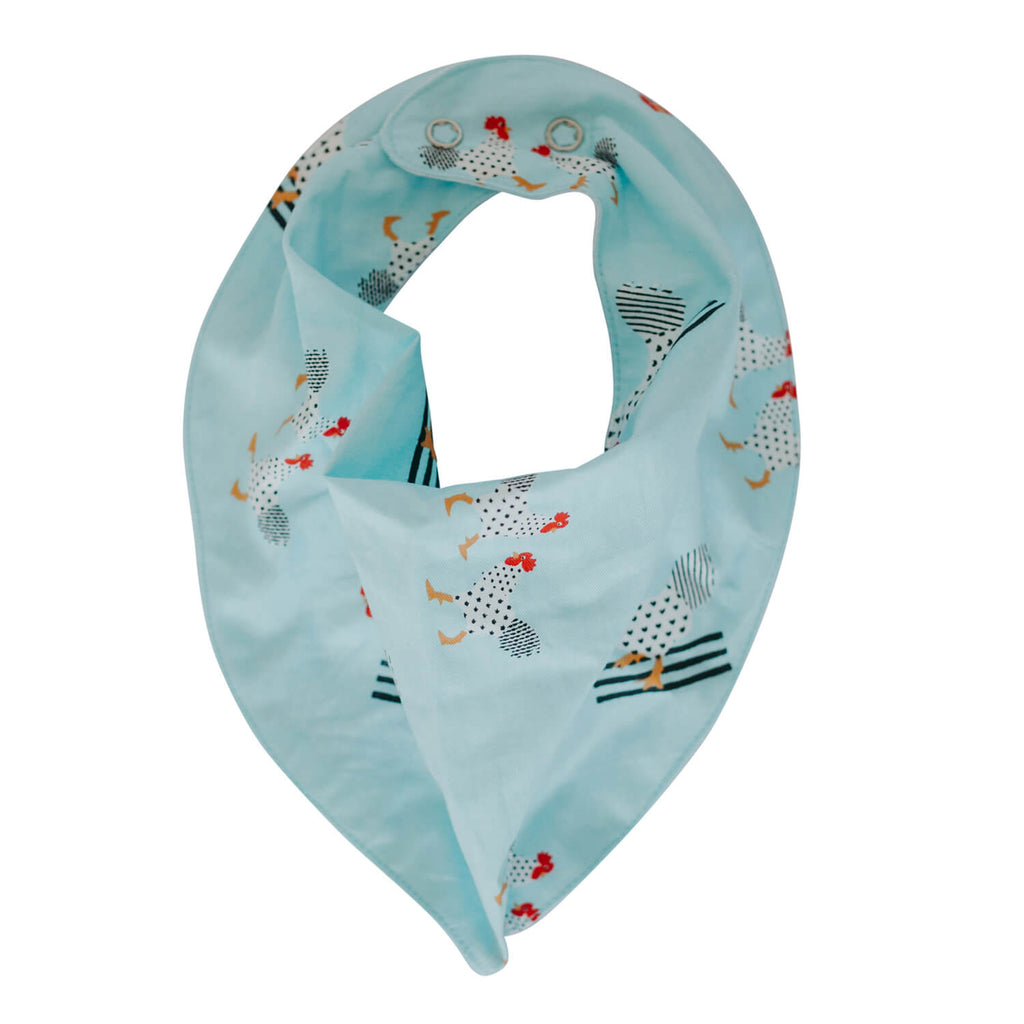 Dribble Bib - Turquoise Chickens