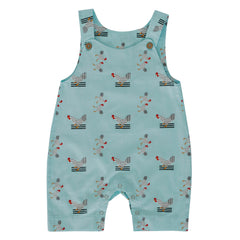 Summer Dungarees - Turquoise Chickens