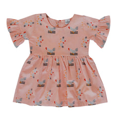 Frankie Dress - Pink Chickens