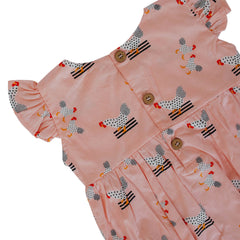 Frilly Romper - Pink Chickens