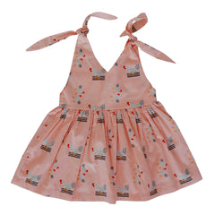 Lilly Dress - Pink Chickens