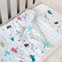 Cot Duvet - Dinos With Grid Reverse