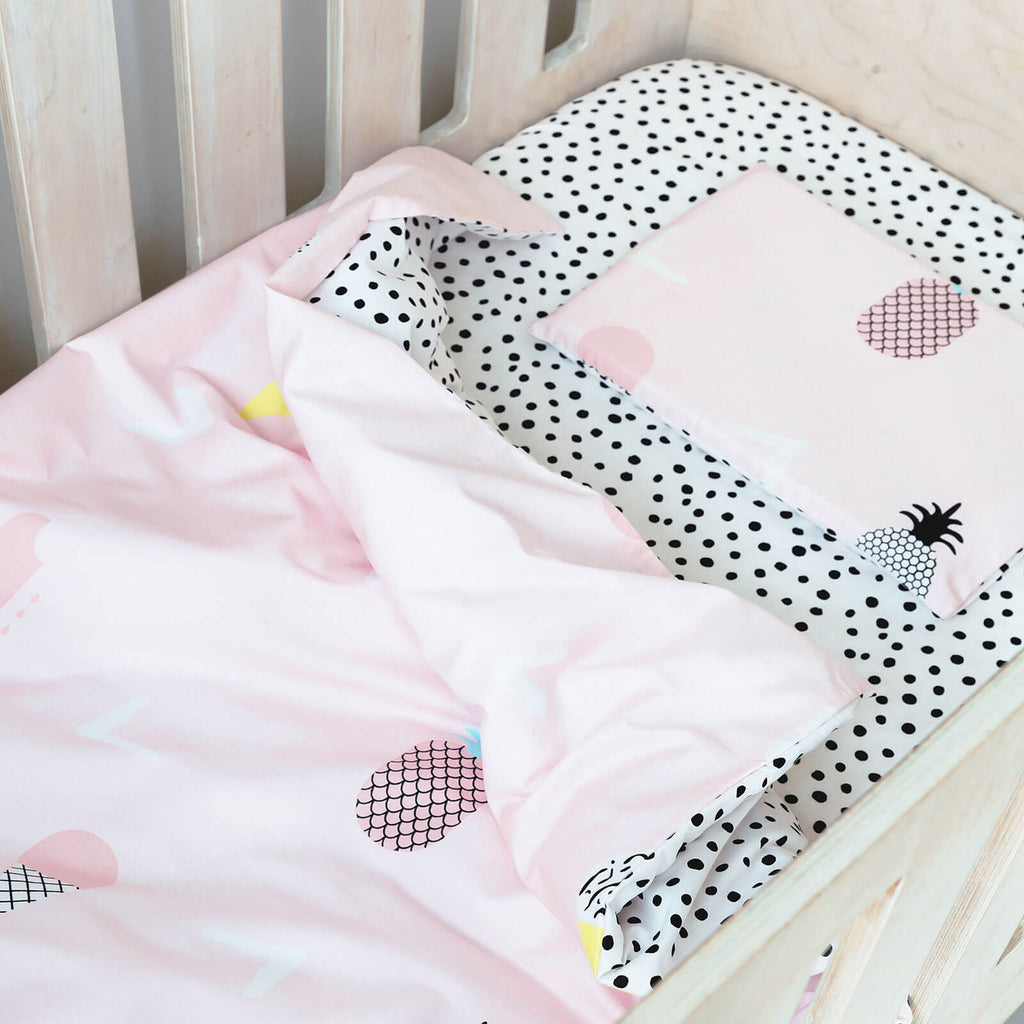 Cot Duvet - Pineapples And Ice Cream With Spotted Reverse