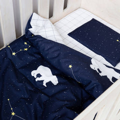Cot Duvet - Polar Bear Galaxy With Grid Reverse