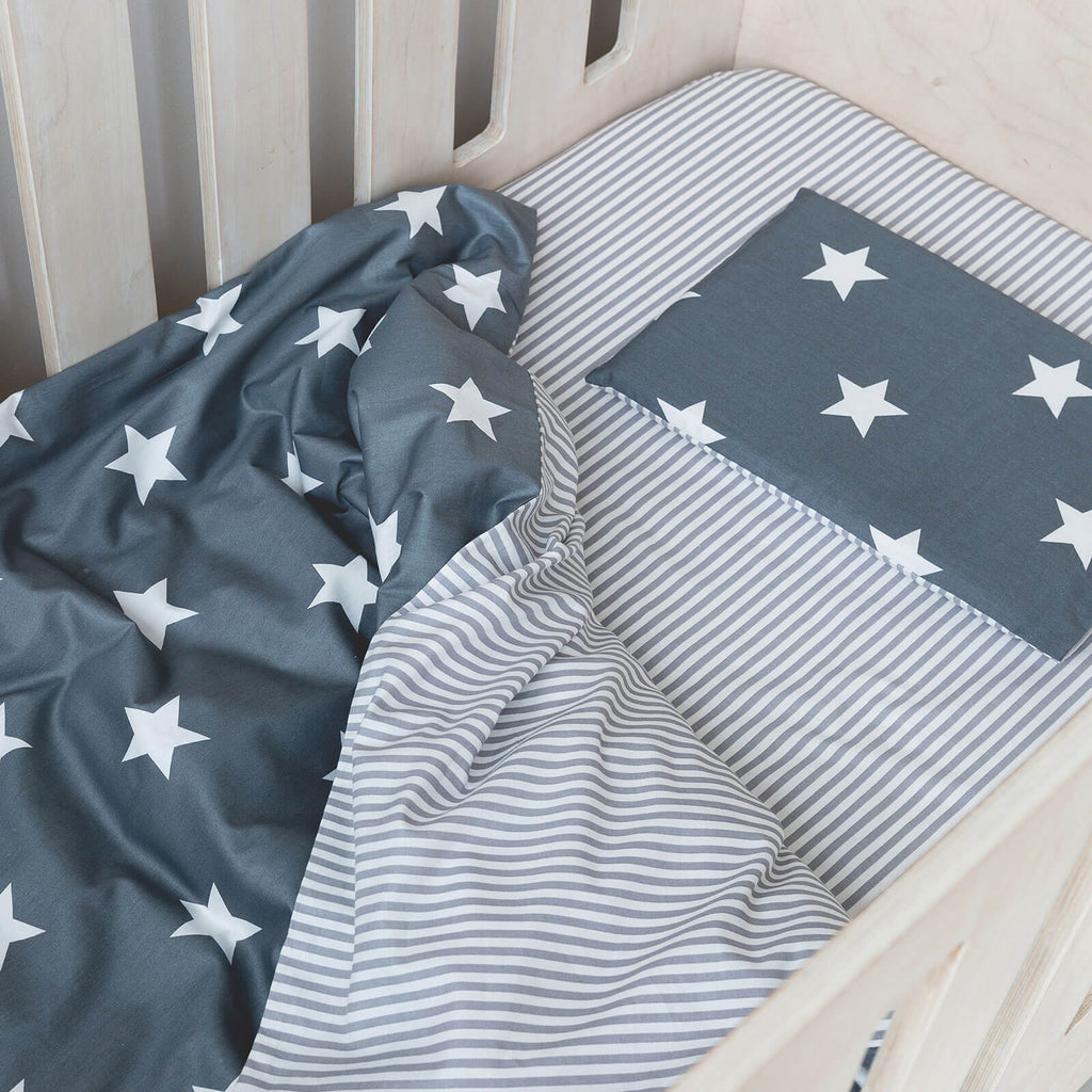 Cot Duvet - Stars With Grey Stripe Reverse