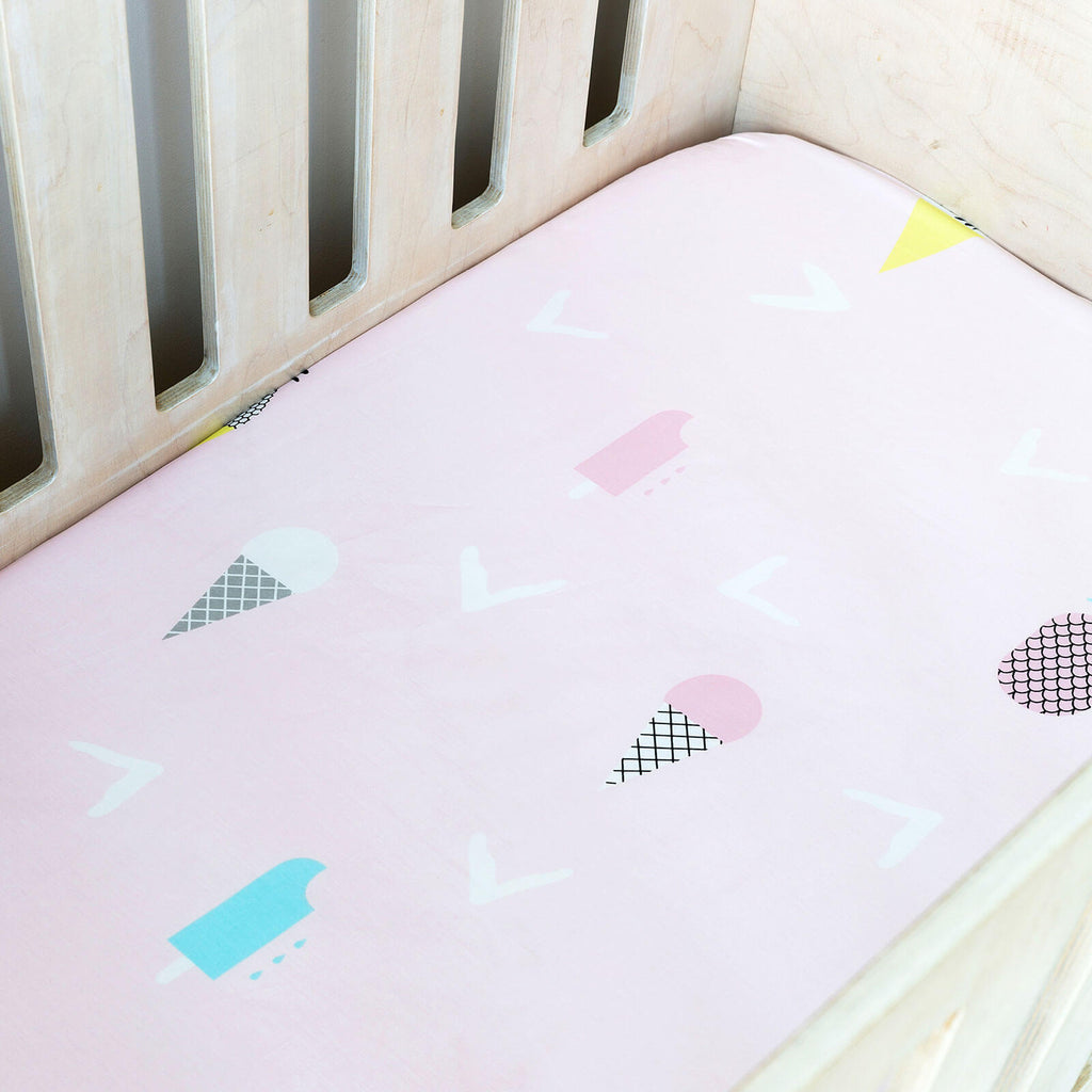 Cot Fitted Sheet - Pineapples And Ice Cream