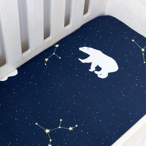 Cot Fitted Sheet - Polar Bear Galaxy