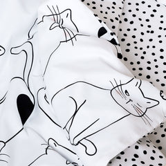 Kids Duvet Set - Cats With Spotted Reverse