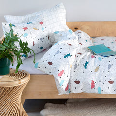 Kids Duvet Set - Dinos With Grid Reverse