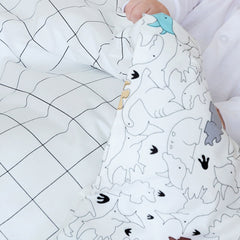 Kids Duvet - Dinos With Grid Reverse