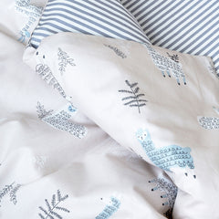 Kids Duvet Set - Lama With Grey Stripe Reverse