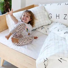 Kids Duvet Set - Letters With Grid Reverse