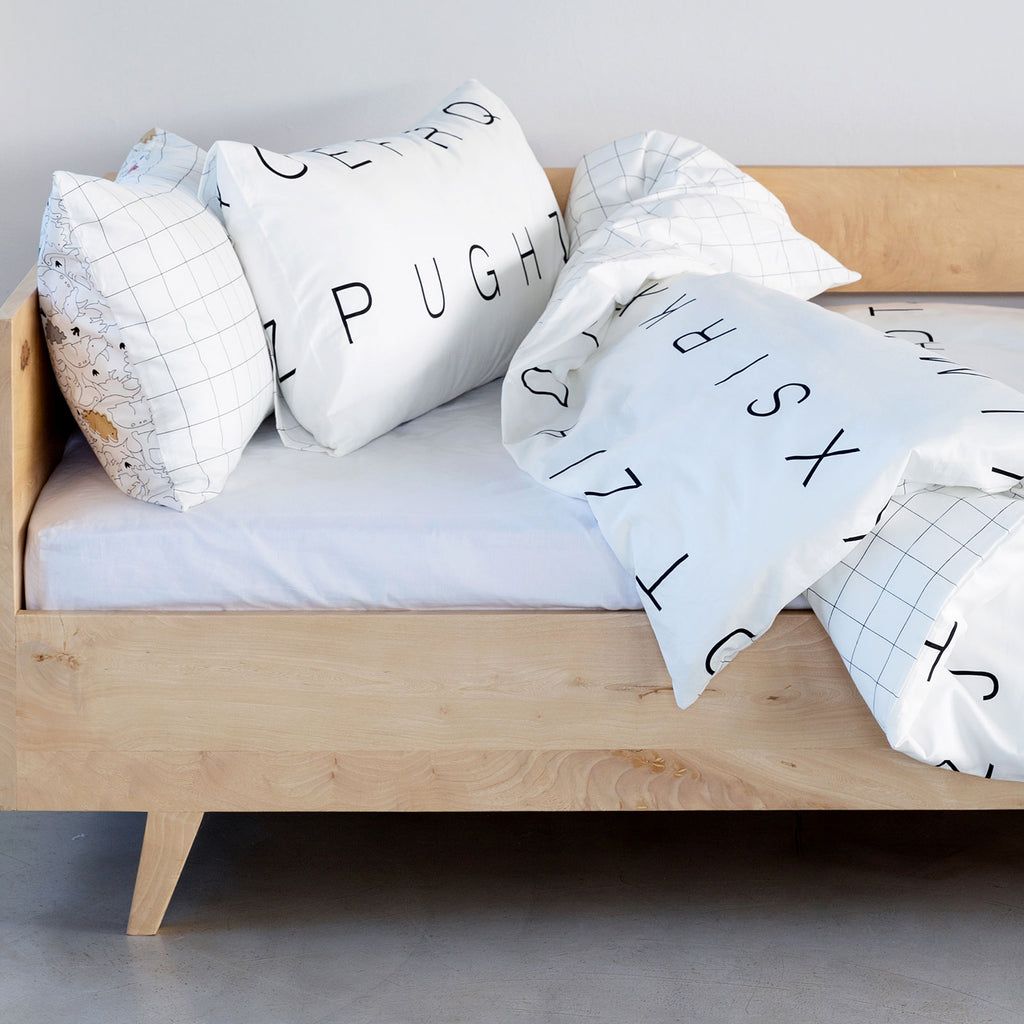 Kids Duvet - Letters With Grid Reverse