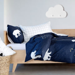 Kids Duvet Set - Polar Bear Galaxy With Grid Reverse