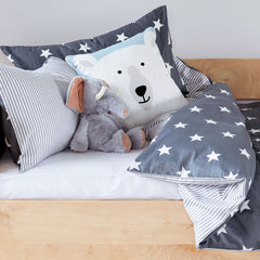 Kids Duvet Set - Stars With Grey Stripe Reverse
