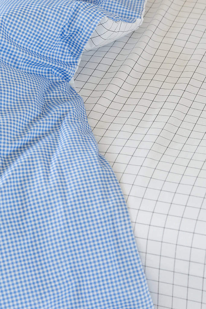 Cot Duvet - Blue Gingham