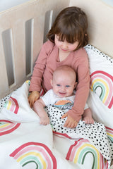Cot Duvet - Rainbow with spotted reverse