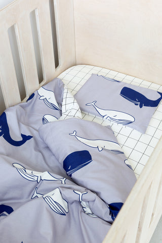 Cot Duvet - Whale with Grid reverse