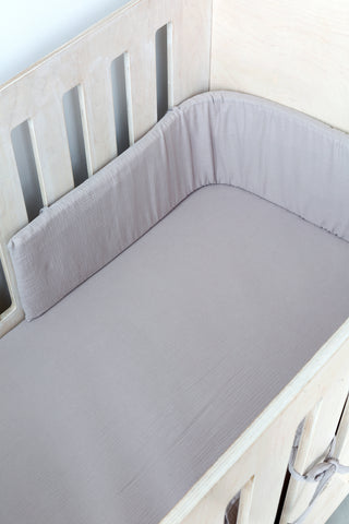 Cot Fitted Sheet - Grey Muslin