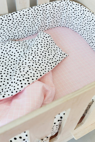 Cot Fitted Sheet - Pink Grid