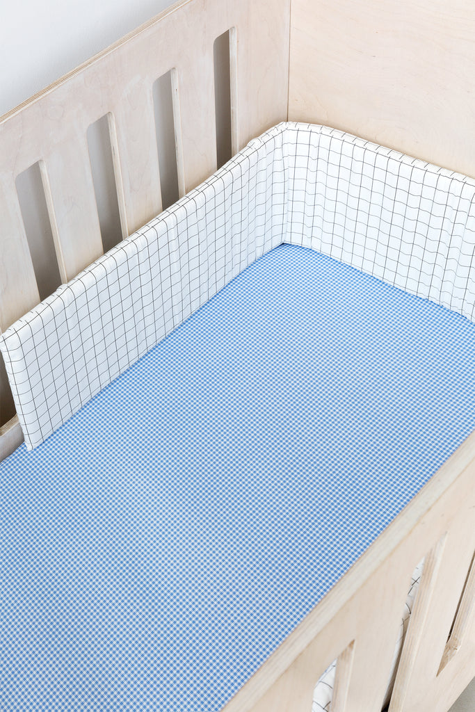 Cot Fitted Sheet - Blue Gingham