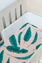 Cot Fitted Sheet - Palm Leaves