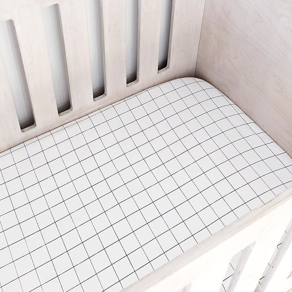 Cot Fitted Sheet - Grid