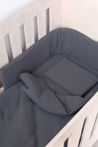 Blue Grey Muslin - Cot duvet Set