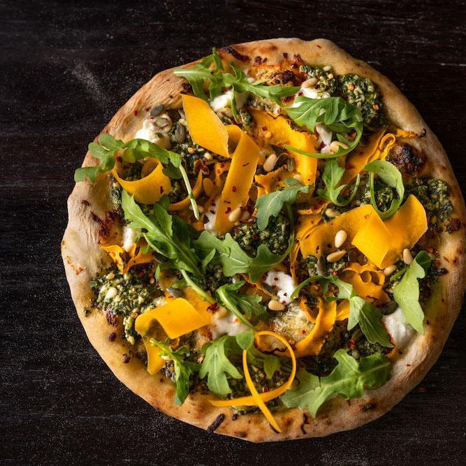 Butternut Squash, Pesto & Burrata Pizza