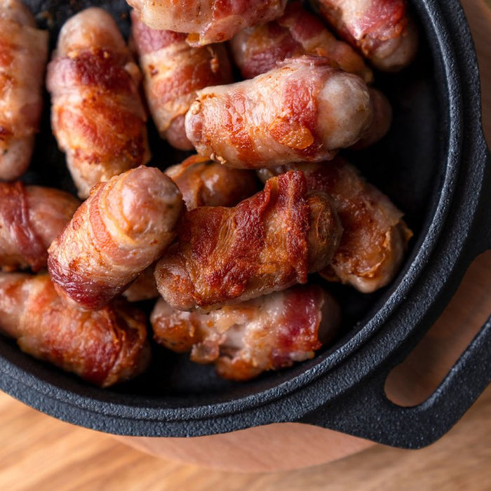 Pigs in Blankets cooked in Cast Iron