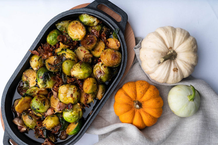 Brussels Sprouts with Bacon & Chilli