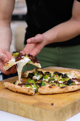 Brussels Sprout & Apple-Bacon Jam Pizza