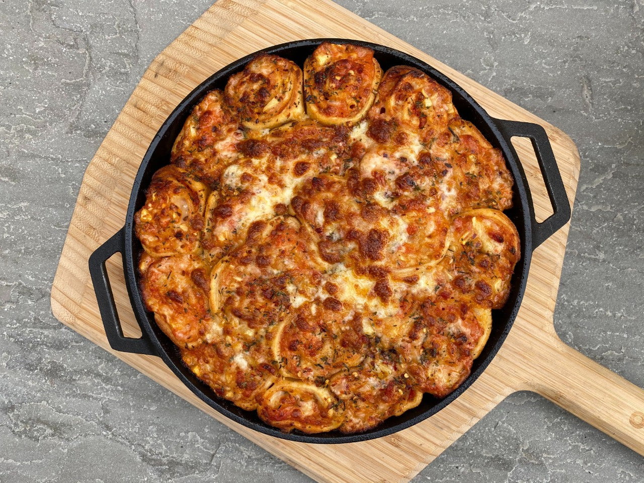 Hawaiian Skillet Baked Pizza Rolls Featured Image