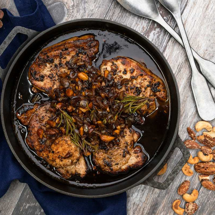 Balsamic Glazed Pork Steaks with Chopped Nuts and Honey