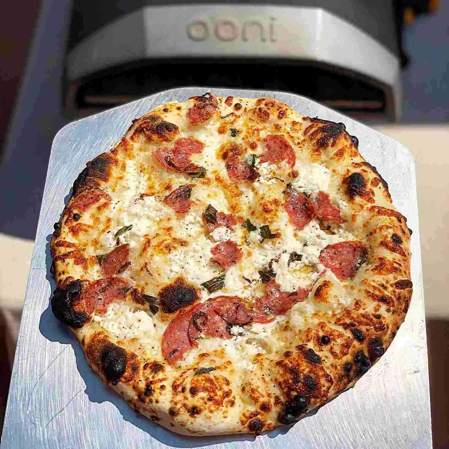 Salami, Goat's Cheese & Hot Honey White Pizza