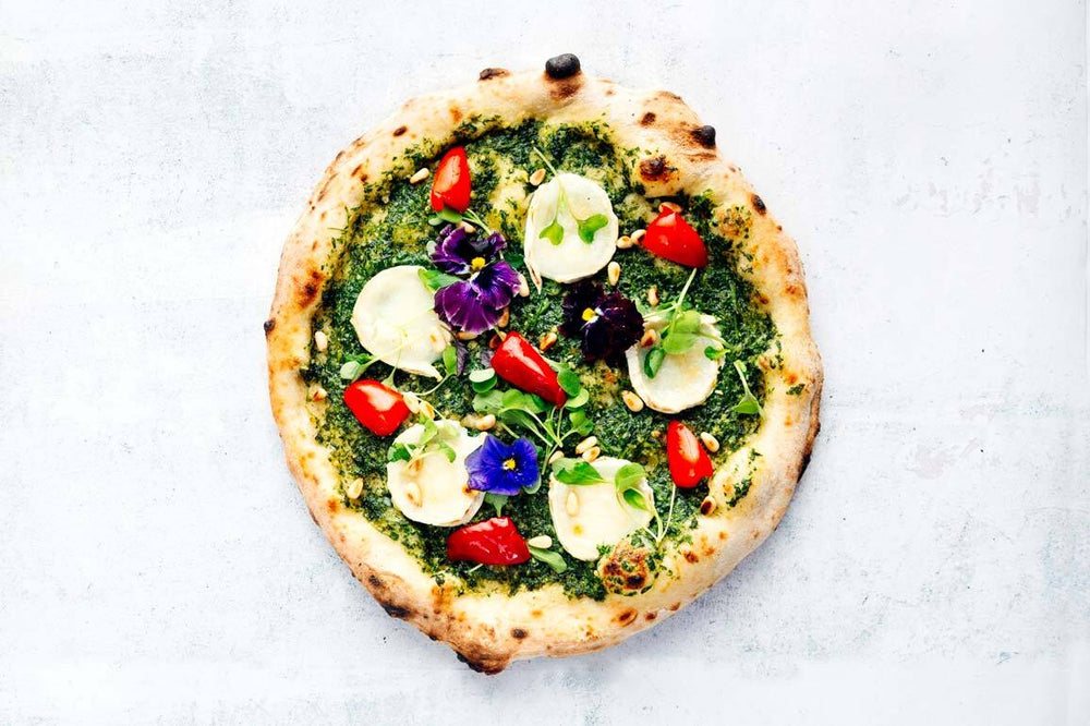 Green Pesto and Goats' Cheese Pizza