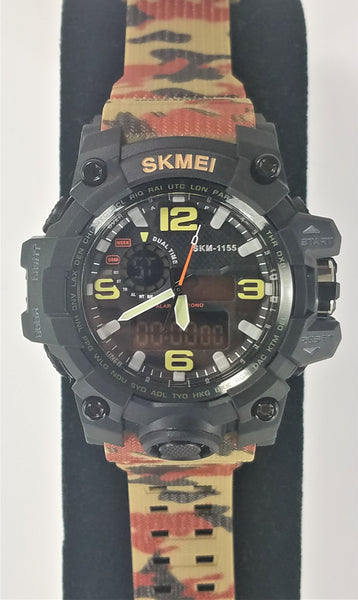 SKMEI Black with Camouflage Band Men's Military G Style Sport Digital Analog LED Shock Quartz Watch - Forevertime77