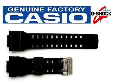 CASIO G-Shock GA-100CS-7AW 16mm Original Glossy Black Rubber Watch BAND Strap - Forevertime77