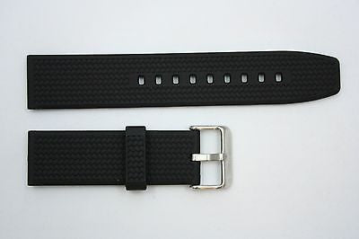 22mm Braided Heavy Italian Black Rubber Watch BAND Strap FITS Luminox S/S Buckle - Forevertime77