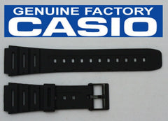 Casio 71604130 Genuine Factory Replacement Black Rubber Watch Band fits CA-53W CA-61W FT-100W W-520U W-720 W-722 W-741 WL-100