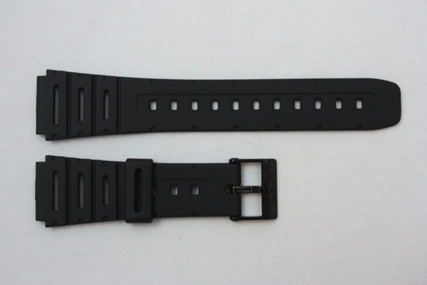 Casio 71604130 Genuine Factory Replacement Black Rubber Watch Band fits CA-53W CA-61W FT-100W W-520U W-720 W-722 W-741 WL-100 - Forevertime77
