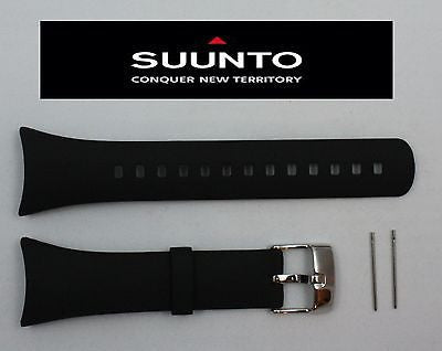Suunto M1/M2 Original ELASTOMER Plain BLACK Rubber Watch BAND Strap w/ 2 Pins - Forevertime77