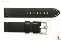 24mm Black Smooth Leather Watch Band Strap Fits Luminox Anti-Allergic Heavy Duty