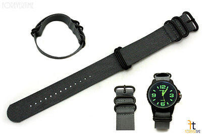 20mm Fits Luminox Nylon Woven Grey Watch Band Strap 4 Black S/S Rings - Forevertime77