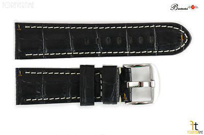 Bandenba 24mm Genuine Black Crocodile Grain Leather White Stitched Watch Band - Forevertime77