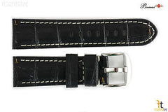 Bandenba 24mm Genuine Black Crocodile Grain Leather White Stitched Watch Band
